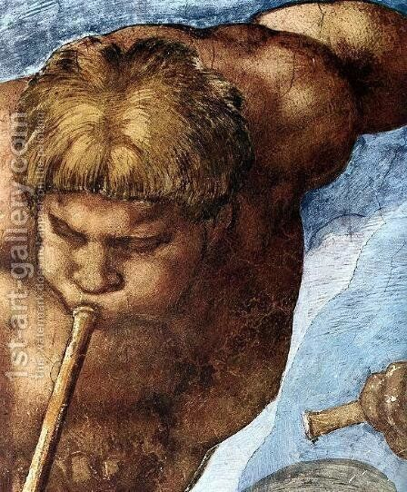 Last Judgment (detail-9) 1537-41 by Michelangelo - Reproduction Oil Painting