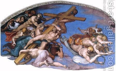 Last Judgment (detail-10) 1537-41 by Michelangelo - Reproduction Oil Painting
