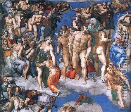 Last Judgment (detail-11) 1537-41 by Michelangelo - Reproduction Oil Painting
