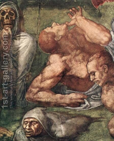 Last Judgment (detail-16) 1537-41 by Michelangelo - Reproduction Oil Painting