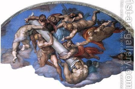 Last Judgment (detail-17) 1537-41 by Michelangelo - Reproduction Oil Painting