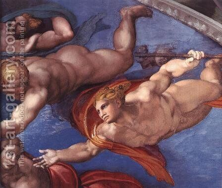 Last Judgment (detail-19) 1537-41 by Michelangelo - Reproduction Oil Painting