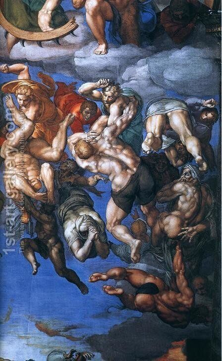 Last Judgment (detail-22) 1537-41 by Michelangelo - Reproduction Oil Painting