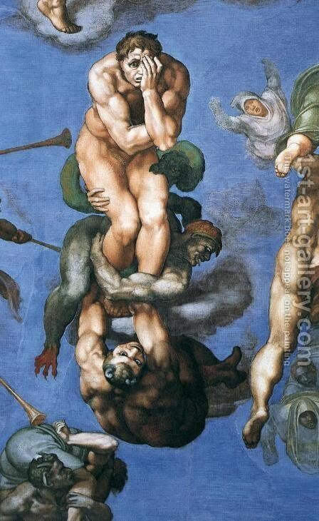 Last Judgment (detail-23) 1537-41 by Michelangelo - Reproduction Oil Painting