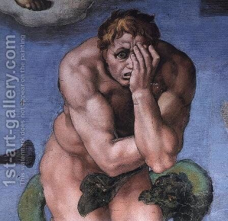 Last Judgment (detail-24) 1537-41 by Michelangelo - Reproduction Oil Painting