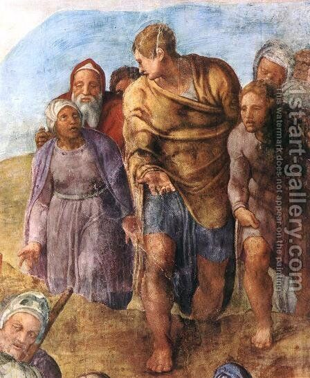 Martyrdom of St Peter (detail-2) 1546-50 by Michelangelo - Reproduction Oil Painting