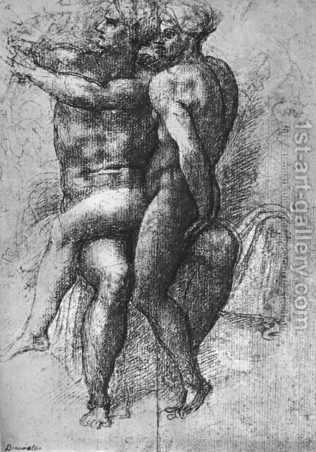 Nude Study 1510-11 by Michelangelo - Reproduction Oil Painting