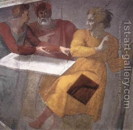 Punishment of Haman (detail-1) 1511 by Michelangelo - Reproduction Oil Painting