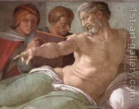 Punishment of Haman (detail-2) 1511 by Michelangelo - Reproduction Oil Painting