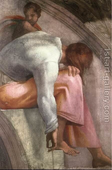 Rehoboam - Abijah (detail-2) 1511-12 by Michelangelo - Reproduction Oil Painting