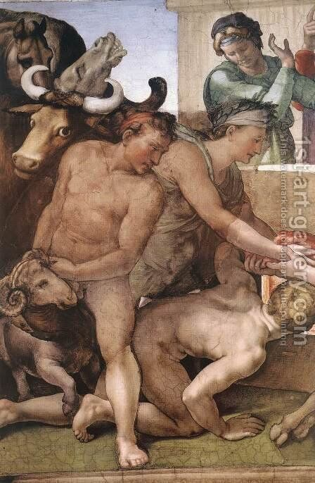 Sacrifice of Noah (detail-1) 1509 by Michelangelo - Reproduction Oil Painting