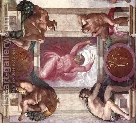 Separation of Light from Darkness (with ignudi and medallions) 1511 by Michelangelo - Reproduction Oil Painting