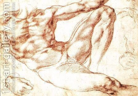 Study for Adam c. 1510 by Michelangelo - Reproduction Oil Painting