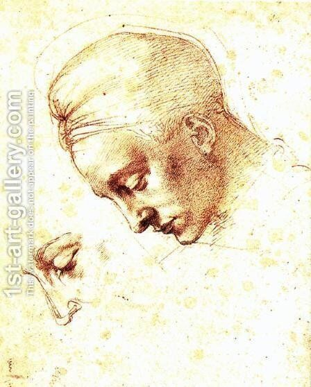 Study of a Head c. 1530 by Michelangelo - Reproduction Oil Painting