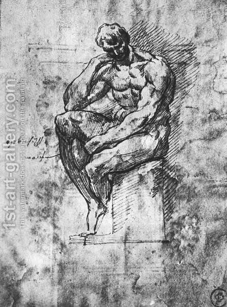 Study of a Man 1510-11 by Michelangelo - Reproduction Oil Painting