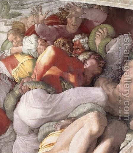 The Brazen Serpent (detail-1) 1511 by Michelangelo - Reproduction Oil Painting