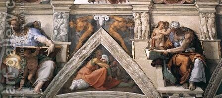 The ceiling (detail-3) 1508-12 by Michelangelo - Reproduction Oil Painting