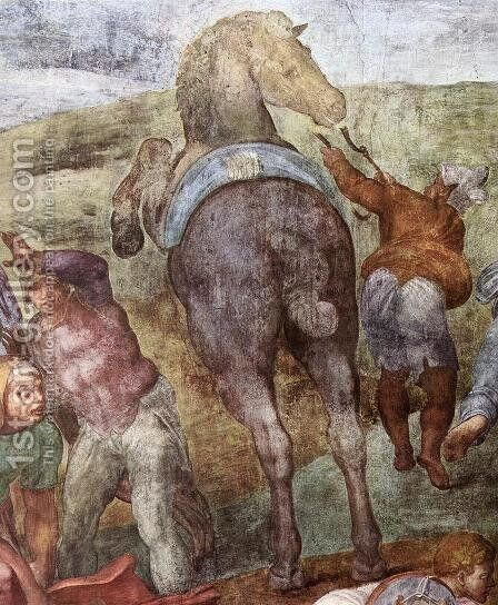 The Conversion of Saul (detail-1) 1542-45 by Michelangelo - Reproduction Oil Painting