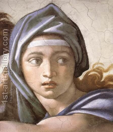 The Delphic Sibyl (detail-1) 1509 by Michelangelo - Reproduction Oil Painting
