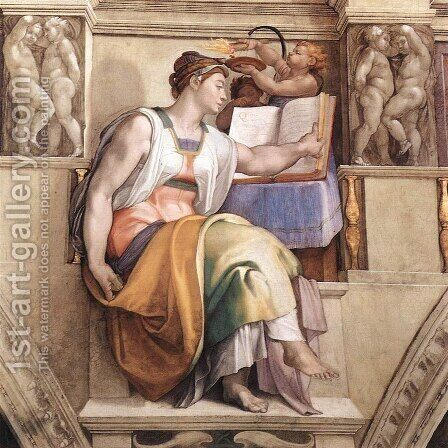 The Erythraean Sibyl 1509 by Michelangelo - Reproduction Oil Painting