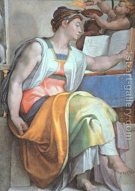 The Erythraean Sibyl (detail-3)  1508-12 by Michelangelo - Reproduction Oil Painting