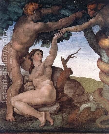 The Fall -1 1509-10 by Michelangelo - Reproduction Oil Painting