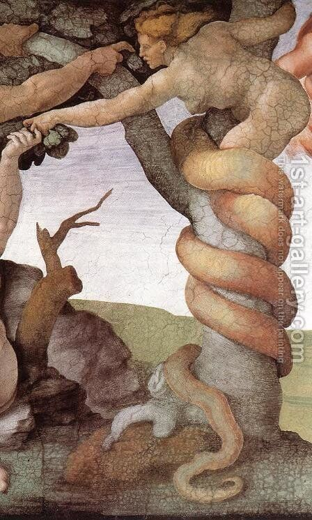 The Fall and Expulsion from Garden of Eden (detail-2) 1509-10 by Michelangelo - Reproduction Oil Painting