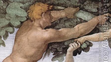 The Fall and Expulsion from Garden of Eden (detail-3) 1509-10 by Michelangelo - Reproduction Oil Painting