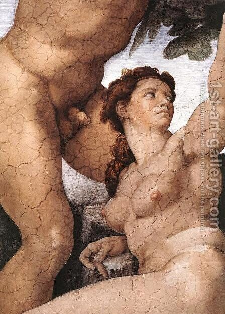 The Fall and Expulsion from Garden of Eden (detail-4) 1509-10 by Michelangelo - Reproduction Oil Painting