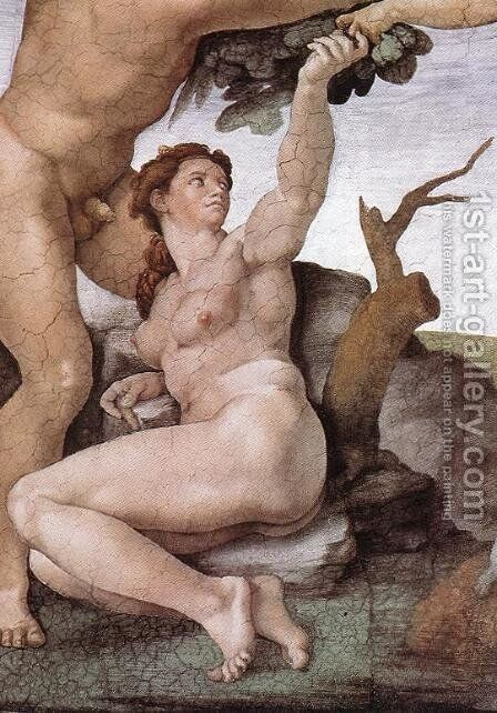 The Fall and Expulsion from Garden of Eden (detail-6) 1509-10 by Michelangelo - Reproduction Oil Painting
