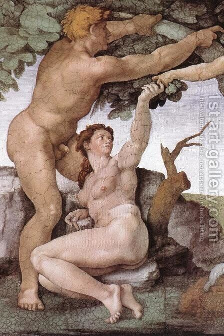 The Fall and Expulsion from Garden of Eden (detail-8) 1509-10 by Michelangelo - Reproduction Oil Painting