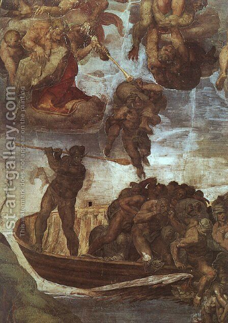 Last Judgement, detail of the Boatman Charon  1536-41 by Michelangelo - Reproduction Oil Painting