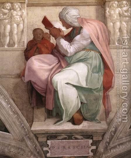 The Persian Sibyl 1511 by Michelangelo - Reproduction Oil Painting