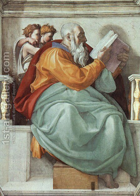 The Prophet Zachariah  1508-12 by Michelangelo - Reproduction Oil Painting