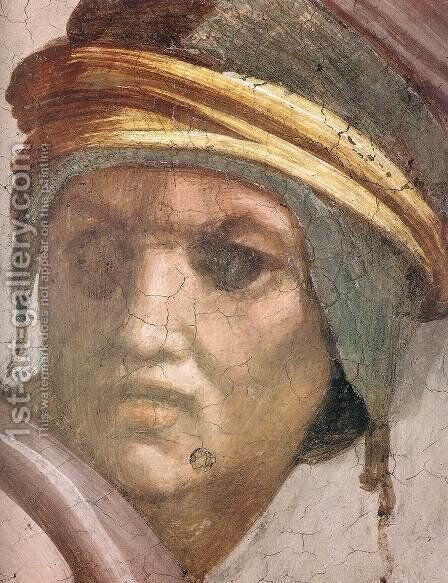 Zerubbabel - Abiud - Eliakim (detail-2) 1511-12 by Michelangelo - Reproduction Oil Painting