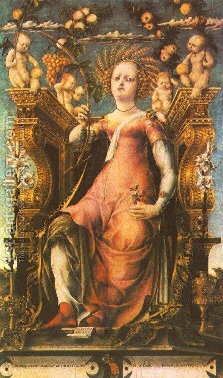 Ceres Enthroned 1450-60 by Michele Pannonio - Reproduction Oil Painting