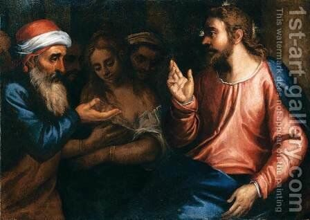 Christ and the Adulteress by Andrea Michieli (see Vicentino) - Reproduction Oil Painting