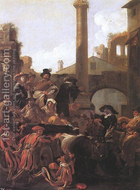 Carnival Time in Rome 1653 by Jan Miel - Reproduction Oil Painting