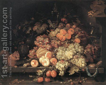 Fruit Still-Life with Squirrel and Goldfinch by Abraham Mignon - Reproduction Oil Painting