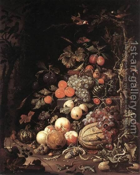 Still-Life after 1672 by Abraham Mignon - Reproduction Oil Painting