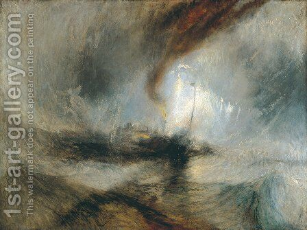 Snow Storm- Steam-Boat off a Harbour's Mouth c. 1842 by Turner - Reproduction Oil Painting