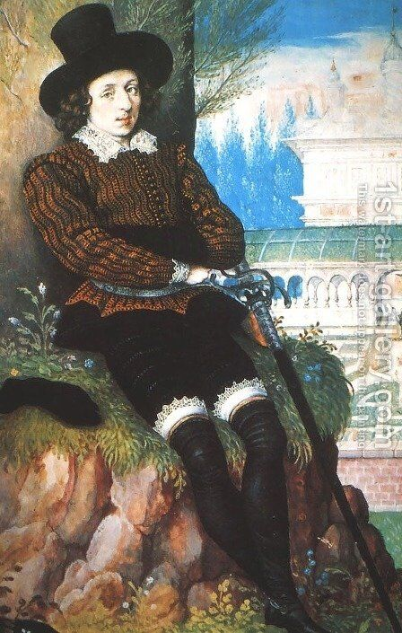 Portrait of a Young Man, said to be Sir Philip Sidney by Isaac Oliver - Reproduction Oil Painting