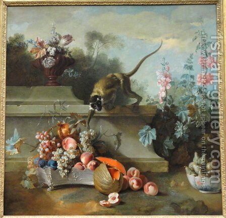 Still Life with a Monkey, Fruit and Flowers by Jean-Baptiste Oudry - Reproduction Oil Painting