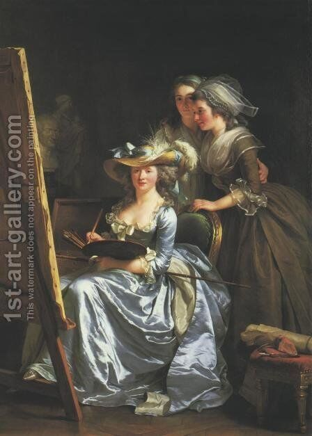 Portrait of Madame Labille-Guyard and Her Pupils by Adelaide Labille-Guyard - Reproduction Oil Painting