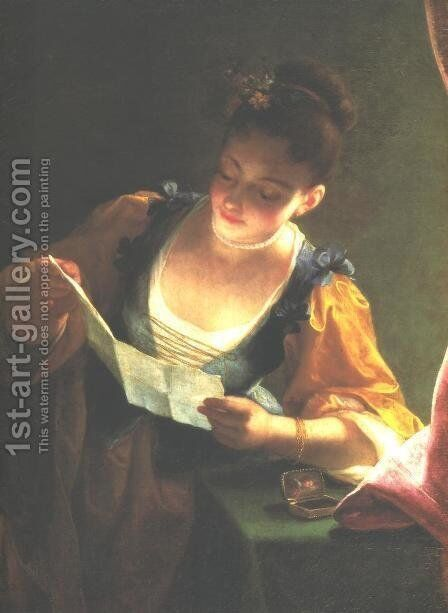 Young Girl Reading a Letter by Jean Raoux - Reproduction Oil Painting