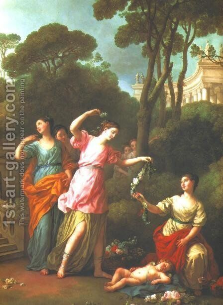 Young Greek Maidens Deck Sleeping Cupid With Flowers by Joseph-Marie Vien - Reproduction Oil Painting