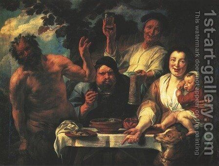 Satyr with Peasants by Jacob Jordaens - Reproduction Oil Painting