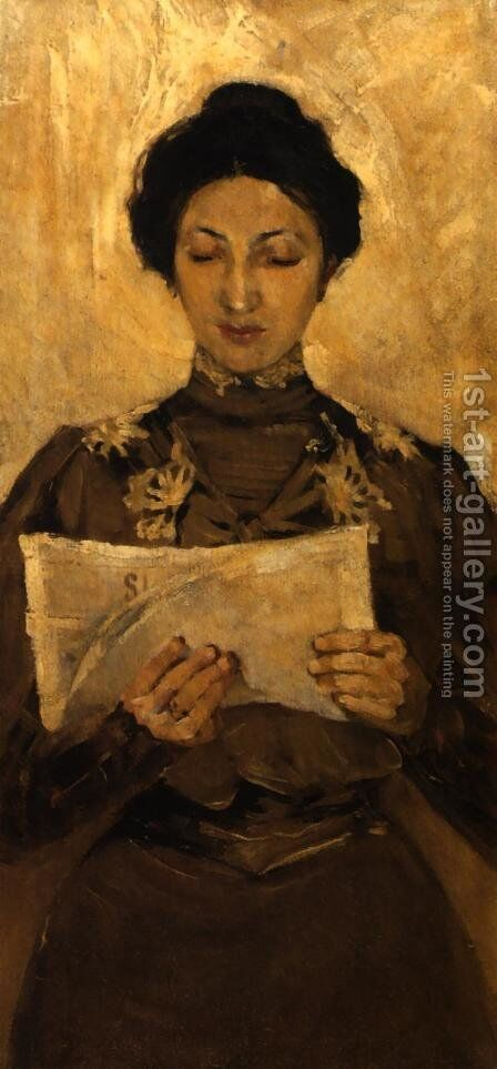 Portrait of a Woman Reading a Newspaper by Stanislaw Debicki - Reproduction Oil Painting