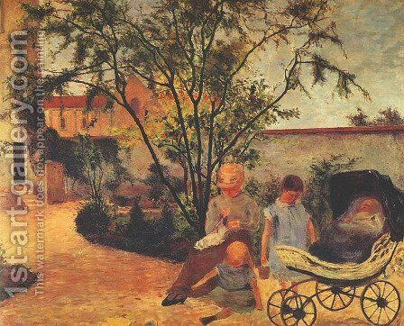 Family of the Artist in the Garden by Paul Gauguin - Reproduction Oil Painting