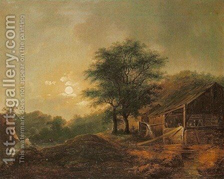 Water-Mill in Moonlight by Jan Jozef Haar - Reproduction Oil Painting